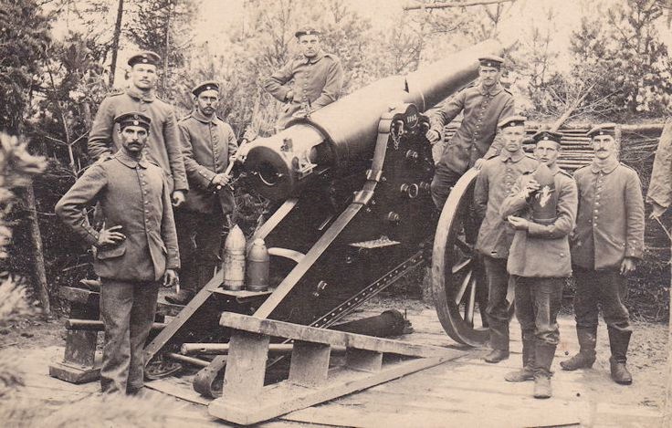 Russian Obukhov 152mm Fortress Gun M77 on a siege carriage, captured by the Germans on the Eastern Front and put into use with Landwehr Fussartillerie units.