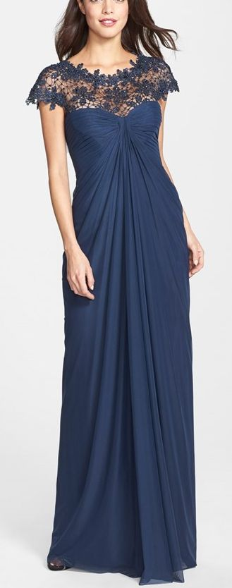 Would like as a mid-length dress- Gorgeous gown in midnight blue Tadashi Shoji