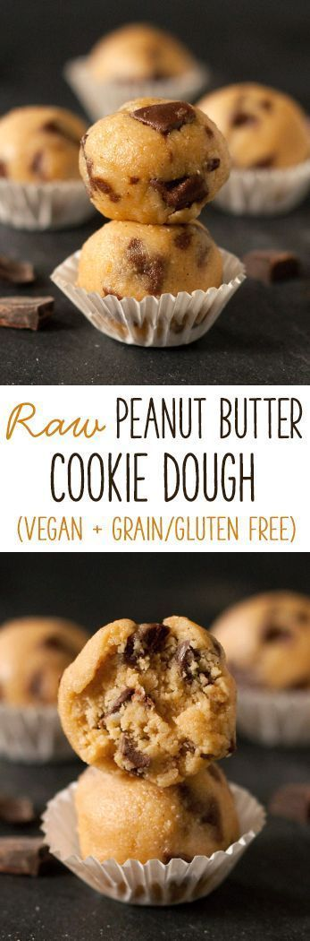 This raw peanut butter cookie dough only has 4 ingredients and it so quick, easy and delicious! {vegan, grain-free, gluten-free, dairy-free}