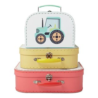 Pappkoffer Set  TRUCKS , 3-tlg Kinderkoffer