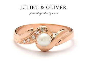 Rose Gold Pearl Ring - Pearl Ring Rose Gold - Rose Gold Pearl Ring With Diamonds - Diamond Pearl Rose Gold Ring - Pearl Ring In Rose Gold