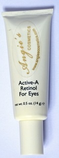 Angie's Active-A Retinol for Eyes Time released delivery system brings the coveted results of clinically proven anti-aging Retinol to the delicate eye area. This highly effective anti-wrinkle eye crème releases its active – packed ingredients slowly and gradually into the skin. Results are without irritation, flaking, or drying. Effective concentration of Retinol (.075%) and super hydrators gently smooth away the appearance of fine lines and wrinkles. Fragrance free. For all skin types.