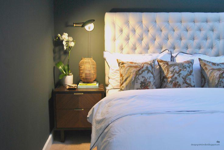 designgratislondon bedroom - Farrow  Ball Studio Green, tufted bed, brass wall lights