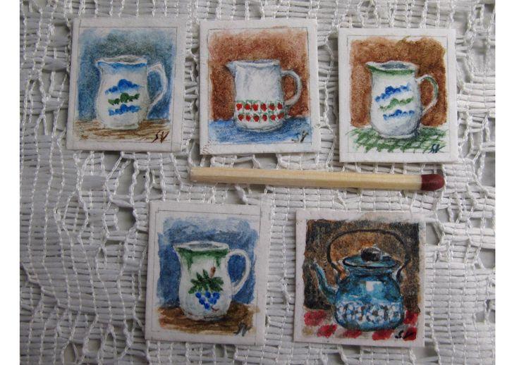 Miniature water colour paintings by Saara Vallineva
