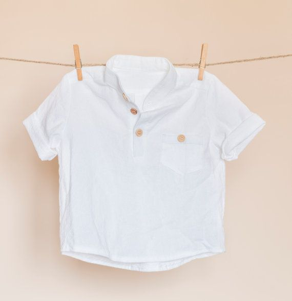Boys natural linen-cotton short sleeved white by TheElfShopDesigns
