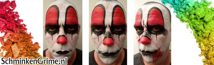 Makkelijk Schminkvoorbeeld Enge Clown. Eng schminkvoorbeeld voor Halloween. ✓ Alle gebruikte producten direct leverbaar bij SchminkenGrime.nl
