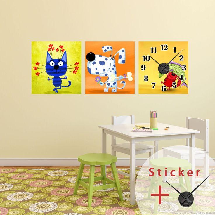 Sticker horloge Caricature chat et chiens - Stickers STICKERS SPECIAUX Stickers Horloges - ambiance-sticker