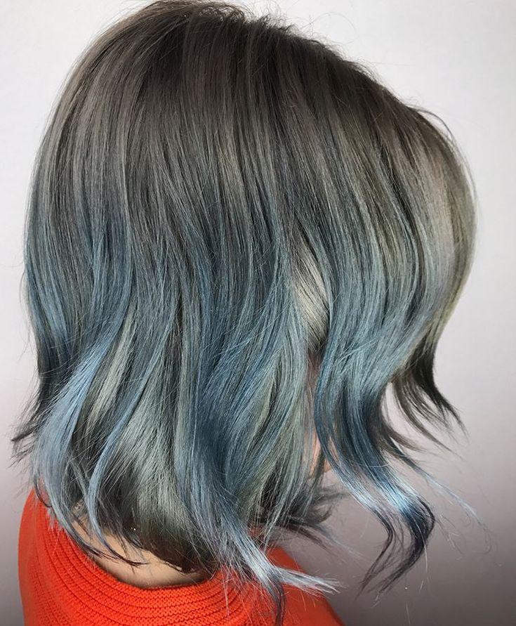 Michelle Marshall using Redken Shades EQ Pastel Aqua Blue and Silver Green
