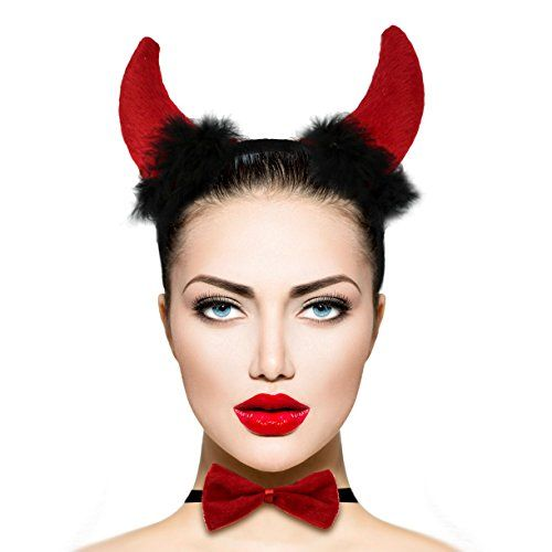 Lux Accessories Red Fluffy Devil Ears Stretch Headband Sexy Bowtie Bendable Tail Halloween Holloween Costume