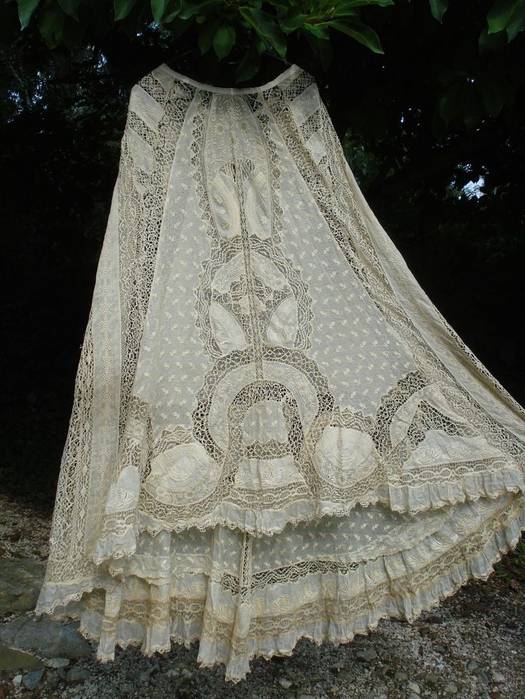 antique french victorian trained embroidery + bobbin lace skirt normandy lace | eBay