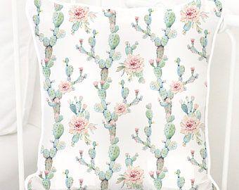 Desert Cactus Blooms Square Pillow | Southwestern, Cactus, Blush Floral, Mint, Girl Cactus, Floral Cactus, Baby Girl Glider Nursery Pillow