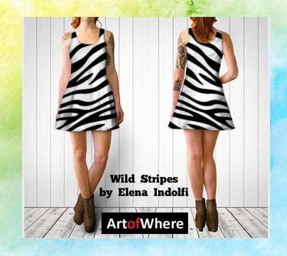 Wild Stripes Flare Dress by Elena Indolfi #ArtofWhere