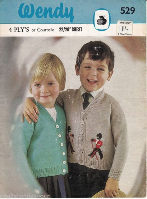 """Wendy 529 4 Ply 22-26"""" Chest Childrens Cardigans Vintage Knitting Pattern"""