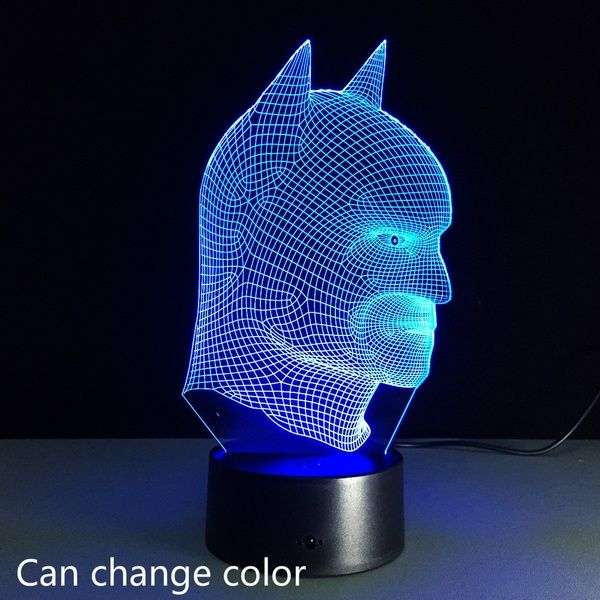 Factory Direct Remote Batman Colorful 3d Lights Led Vision Stereo Lamp Night Light Touch Switch Mood Lamps Led Night Light Night Light