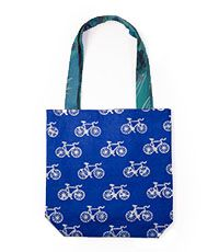 Cotton tote with metallic hand block printed bike design and recycled sari straps, made in India by Matr Boomie