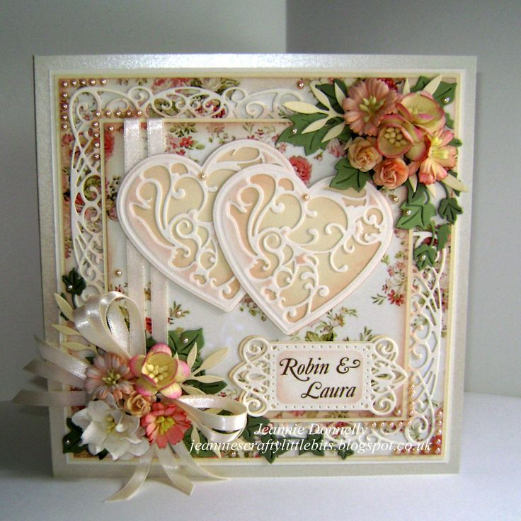 Wedding Card using three Sue Wilson's designs Dies from Creative Expressions, New York Collection Times Square, Corner, Border & Tag and Finishing Touches Trailling Ivy - also using a Spellbinders Grand Square and Vines Of Passion and a Memory Box Leaf. Flowers from Wild Orchid Crafts