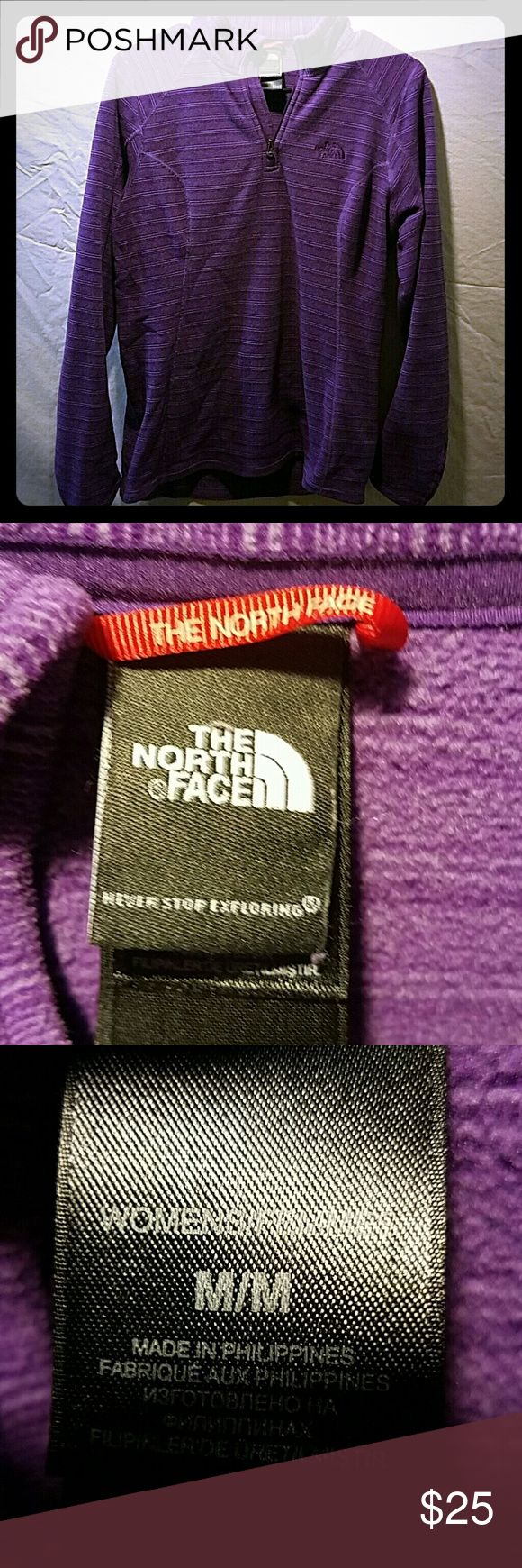* SALE! The North Face fleece pullover - MED. Purple long sleeved striped fleece pull over quarter zip size medium ski gear  Feel free to make an offer & don't forget to check out my other listings.  You can save 15% by bundling! The North Face Tops Sweatshirts & Hoodies
