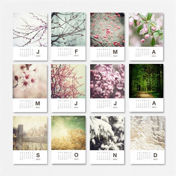 2013 Calendar, 2013 Nature Calendar, 2013 Woodland Calendar, Christmas Gifts Under 30, Gifts for Women, Trees Flowers. For Her.. $25.00, via Etsy.