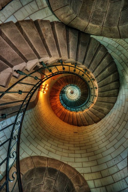 'Look up' wide angle lens/fish eye. Spiral stairs works well, also maybe below a statue.   ..rh