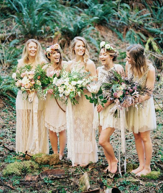 Boho Bridesmaids Styling - Earth tone bridesmaid dresses:
