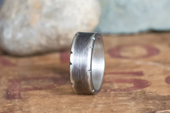 Men's Wedding Band 8mm Band Men's Rustic Wedding by BuffaloLucy