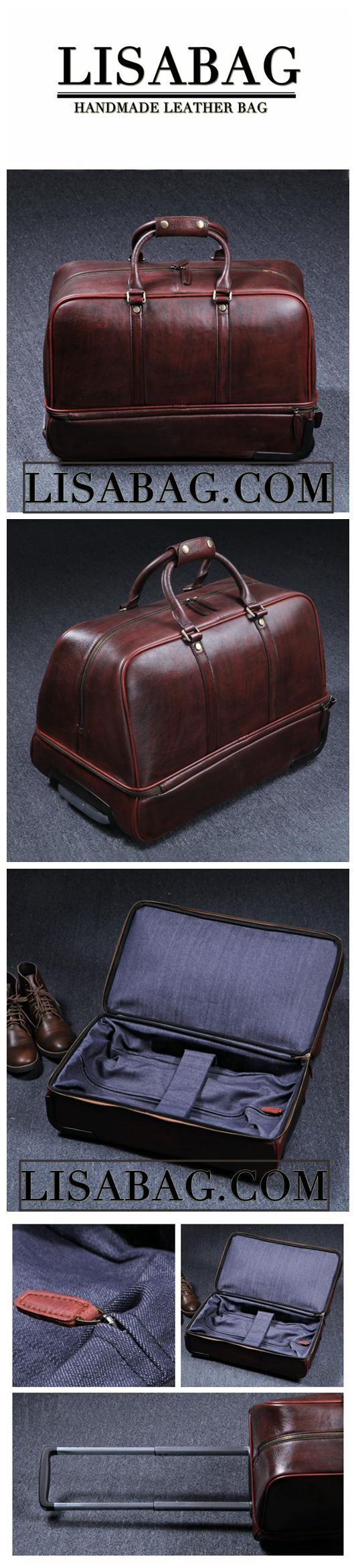 Vintage Full Grain Leather Travel Bag Trolley Bag Duffle Bag Holdall Luggage Bag HB01