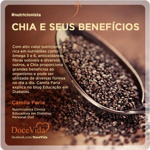 #Nutricionista Conheça a Chia, um grão com alto valor nutricional e rico em nutrientes, que proporciona grandes benefícios ao organismo. Camila Faria explica no blog Educação em Diabetes: http://ow.ly/mKTbK