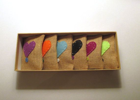 Heart Lavender sachets gift set filled with natural by Apopsis