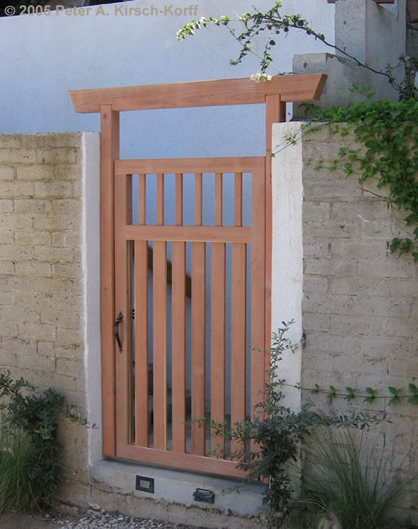 Hollywood Hills Wood Entry Gate (Modern   Asian Fusion Style)