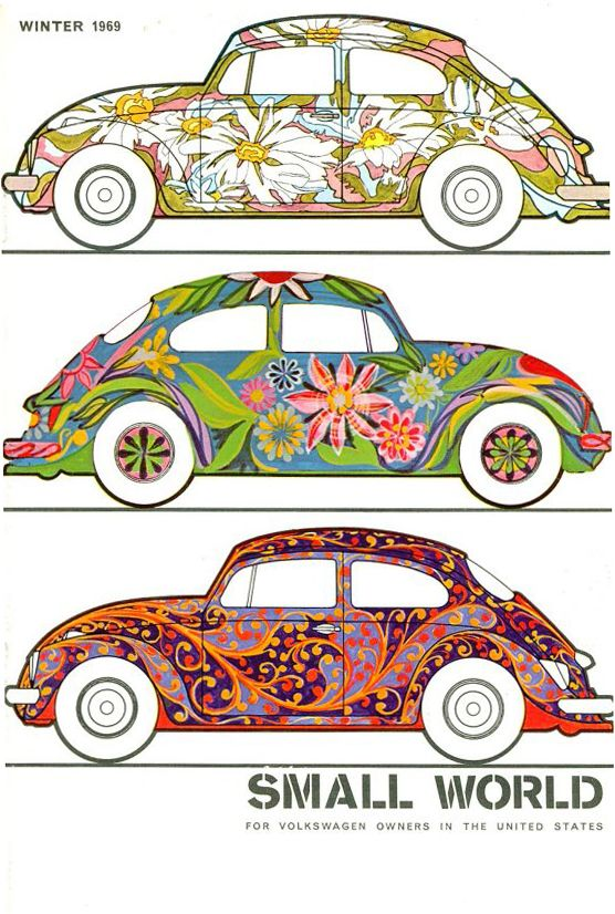 Cover of the Small World magazine, for VW owners in the States,1969. Unknown artist. Volkswagen of America. thesamba.com