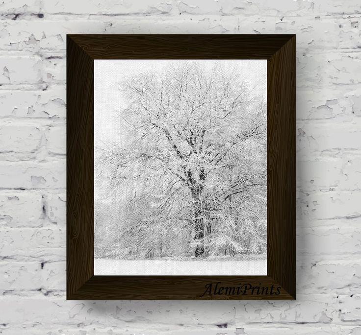 snow wall art, nature print, winter scandinavian art, tree photography poster, black and white prints, digital download, printable artwork di AlemiPrints su Etsy