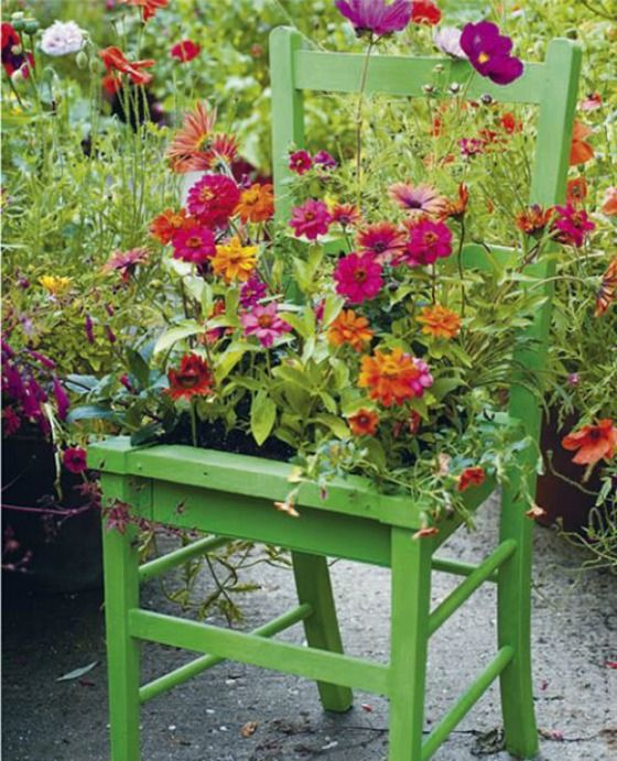 20 Adorable Small Garden Ideas - repurpose things by spray painting in a bright color and using it as a planter.