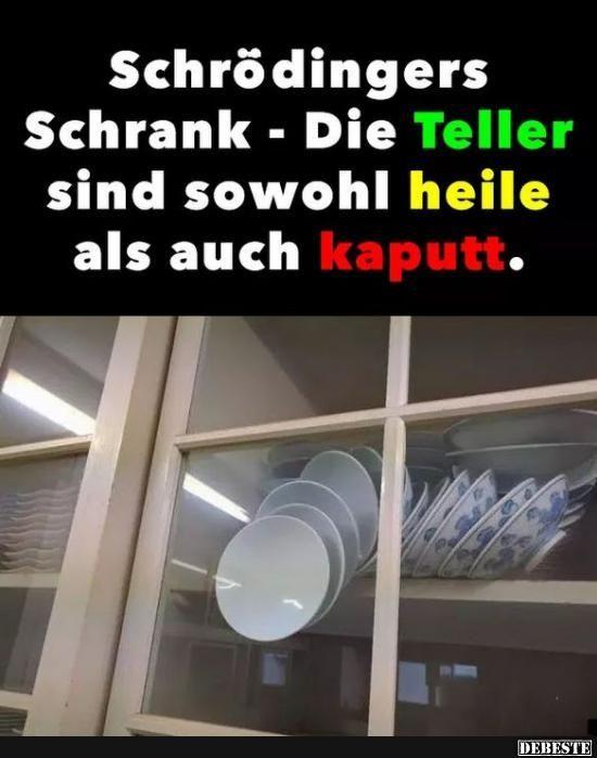Schrödingers Schrank - Die Teller sind sowohl heile als auch kaputt.