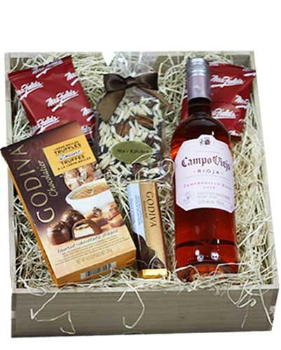 Tempranillo Rose Wine Gift Baskets filled with yummy treats!