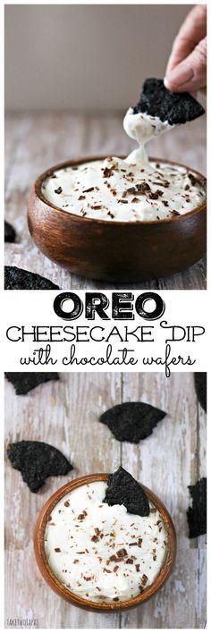 Oreo Cheesecake Dip Recipe with Homemade Chocolate Wafers
