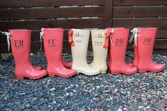 Custom Wedding Rain Boots Wellingtons with Bows via Etsy
