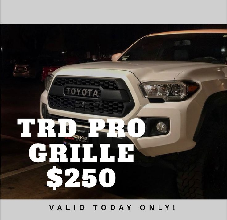 Happy New Year everyone!!! Check out our sale on side projecting pods and TRD Pro Grilles!! $60 for a pair of side projecting pods and $250 for a TRD Pro Grille. At your door prices!! Don't miss out on this great deal!!