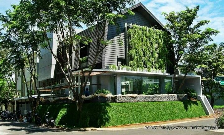 Green facade architecture design by Peter Gunawan