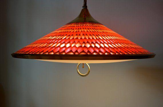 Vintage Moe Honeycomb Retractable 60s 70s Pulldown Kitchen Light Kitchen Pendant Lamp Mid Century Modern Eames Era Lighting Ceiling Mount Pendant Lamps Kitchen Pendant Lamp Midcentury Modern