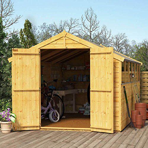12x8 Overlap Wooden Shed - BillyOh Keeper Windowed Double Door Apex Roof Felt Garden Shed 12x8ft---469---