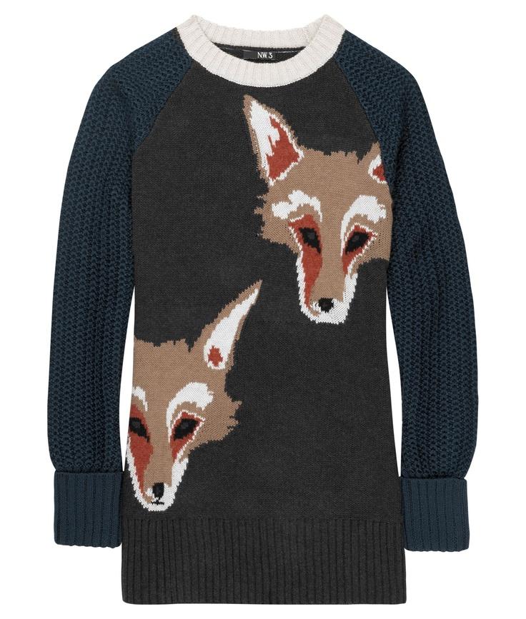 A brilliant fox print jumper designed by student Emma De Vries, Ravensbourne as part of Wool 4 Skool! #wool http://www.facebook.com/WeLoveWool