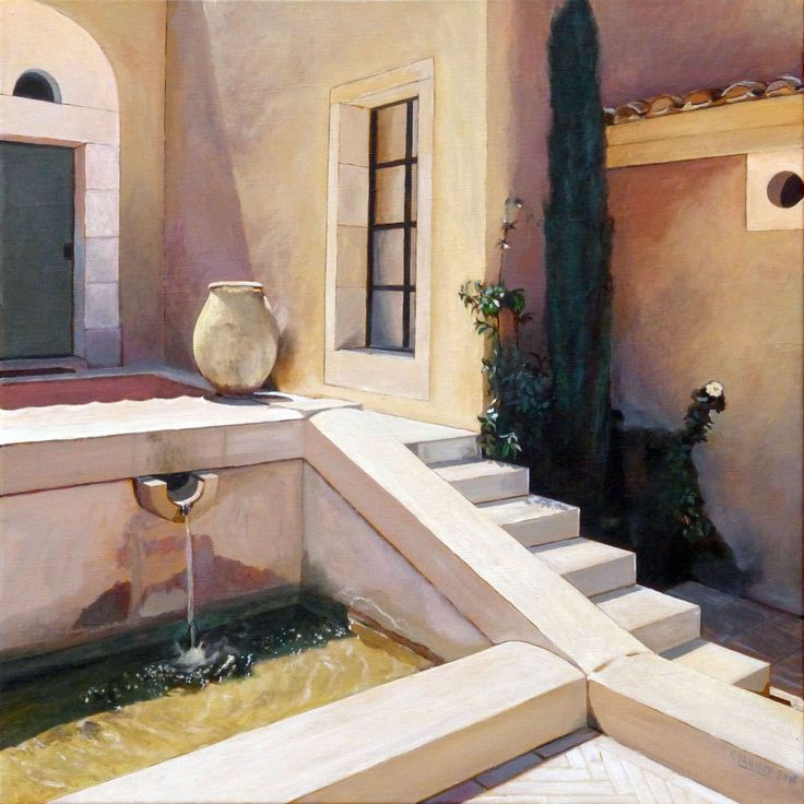 Patrice Lannoy, painting, realistic, figurative, Provencal house, fountain and cypress, paintings, canvas