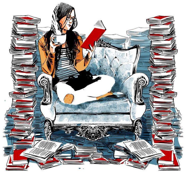 Vaya lectora-devoradora de libros! (ilustración de Oriol Malet)