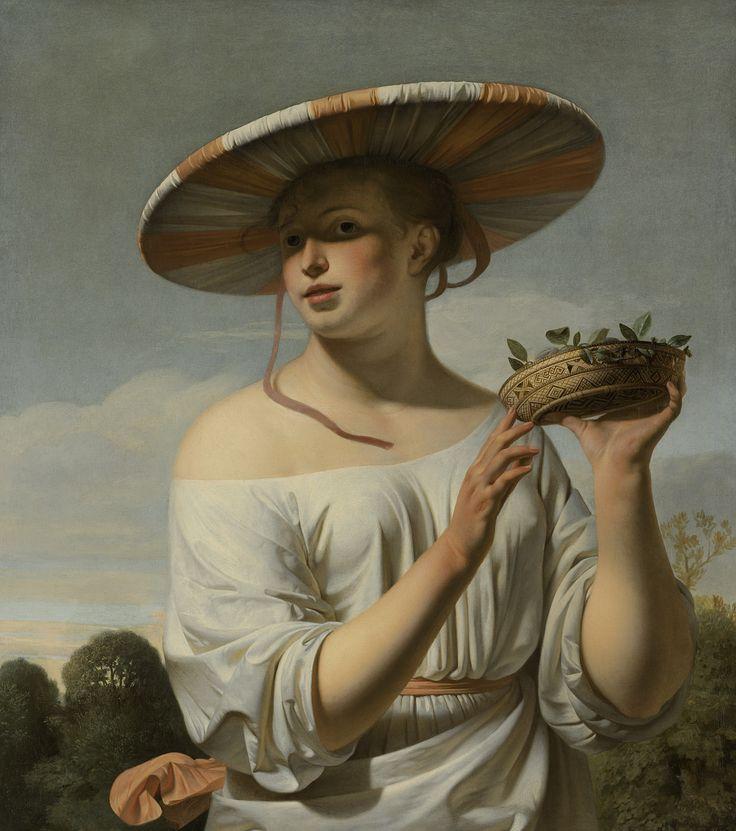 Girl in a large hat by Caesar Boëtius van Everdingen, c.1645. Rijksmuseum, Public Domain