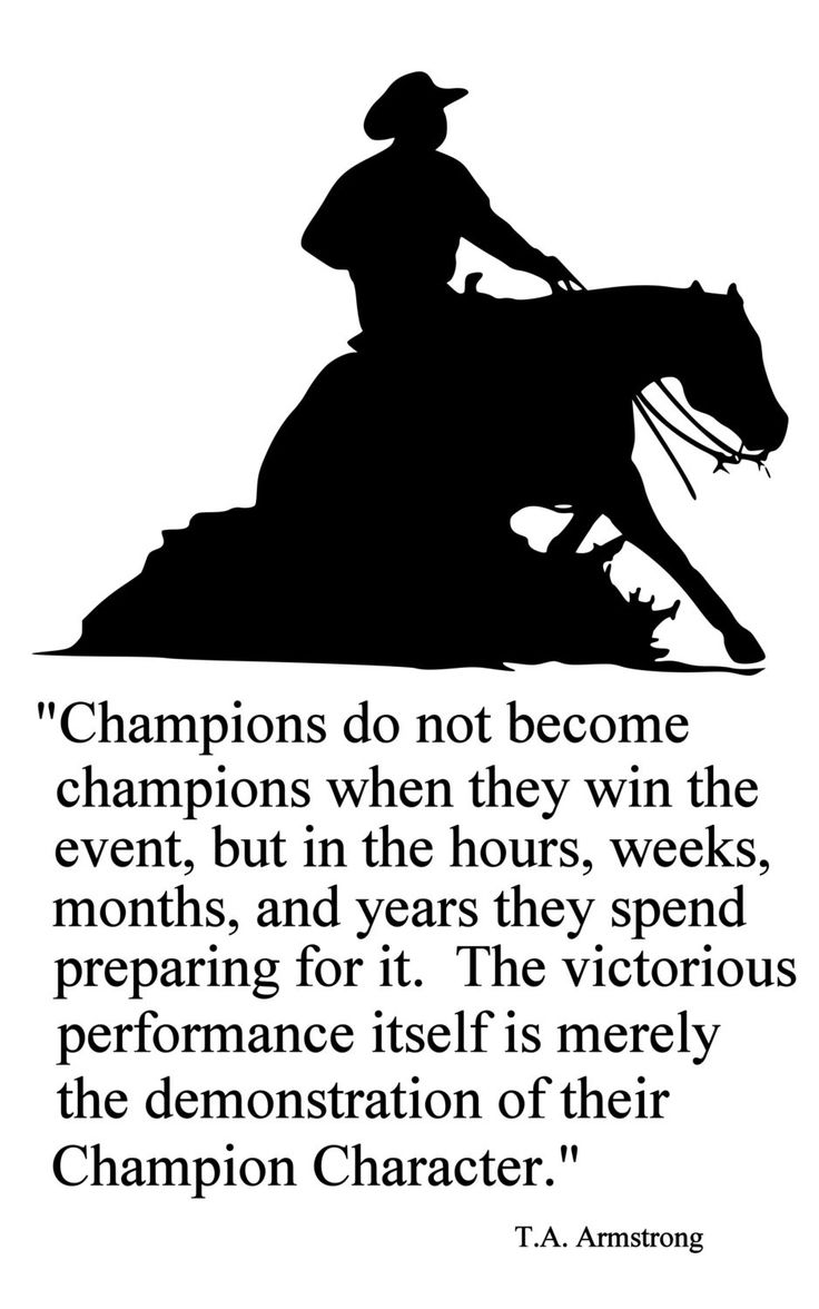 Horse-Champions Reining Horse Quote-Horse wall decal-Large 28 x 43 inches, 144-HQ.