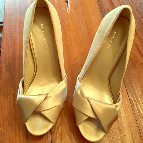 """Karen Miller heels These are a gorgeous champagne colored heels almost a very soft grey.  5"""" heel that make your legs look amazing!  Worn once to a wedding and don't have much use for them anymore unfortunately Karen Millen Shoes Heels"""