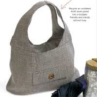 "Download the free pattern to make a bag out of an old suit jacket. Featured in April/May '10 ""Nifty Thrifty."""