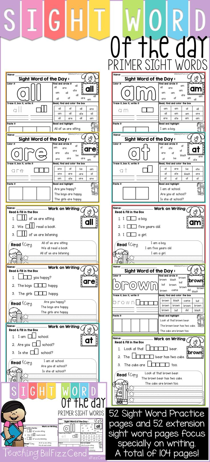 52 sight words practice pages and 52 extension sight word pages focuses specially on writing. Your students will love and master these sight words pages! Total of 104 sight word practice page!! Over 150 SENTENCE FOR FLUENCY!