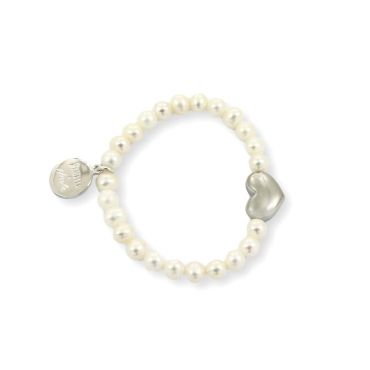 NICOLE HEART Bracelet - Silver with White Pearls