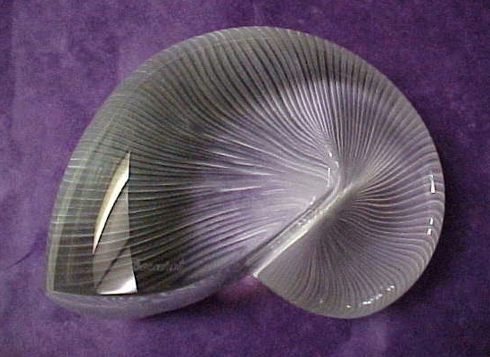 Large Baccarat Crystal Clear Nautilus Shell Signed